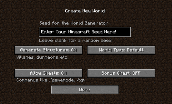 Minecraft Seed Creation